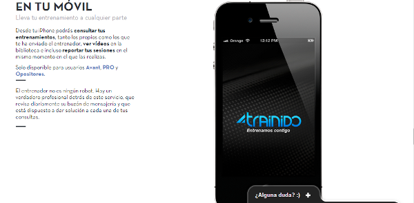 Aplicación para el celular de Trainido